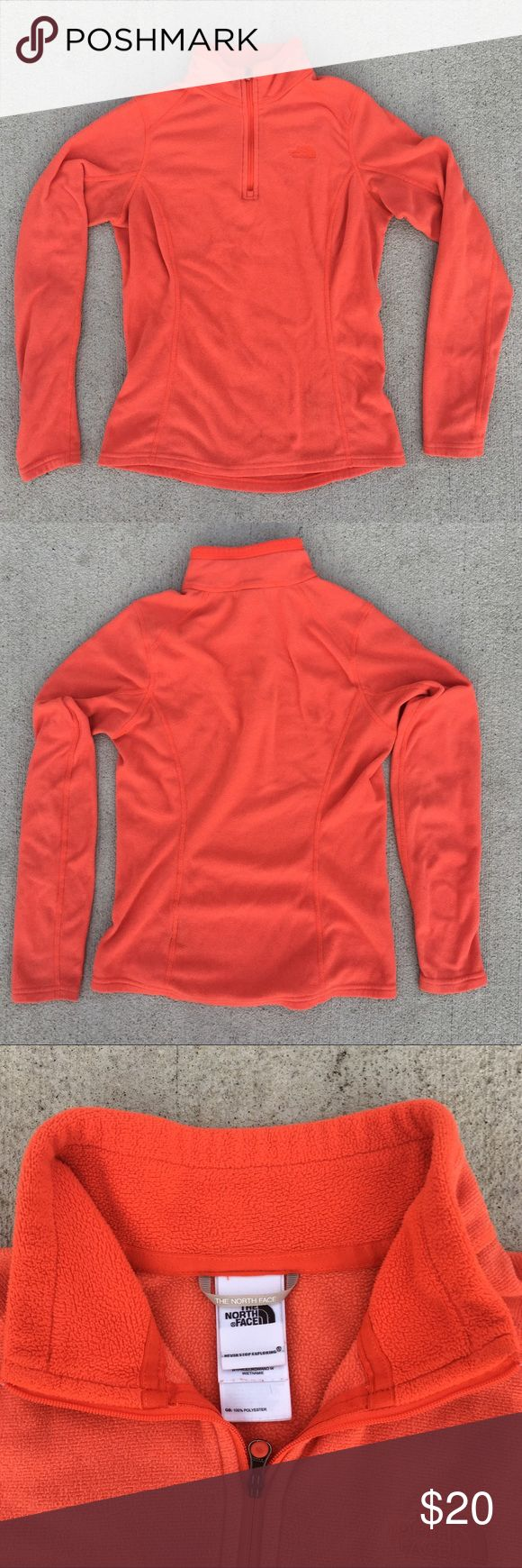"""The North Face Size Small Orange Fleece Sweatshirt Woman's The North Face orange hood less sweatshirt.  •Size Small  •Measurements: underarm to underarm: 16"""" ~ length 23"""" ~ shoulder to end of sleeve 23"""" • small discoloration on arm. Picture 4 The North Face Tops Sweatshirts & Hoodies"""