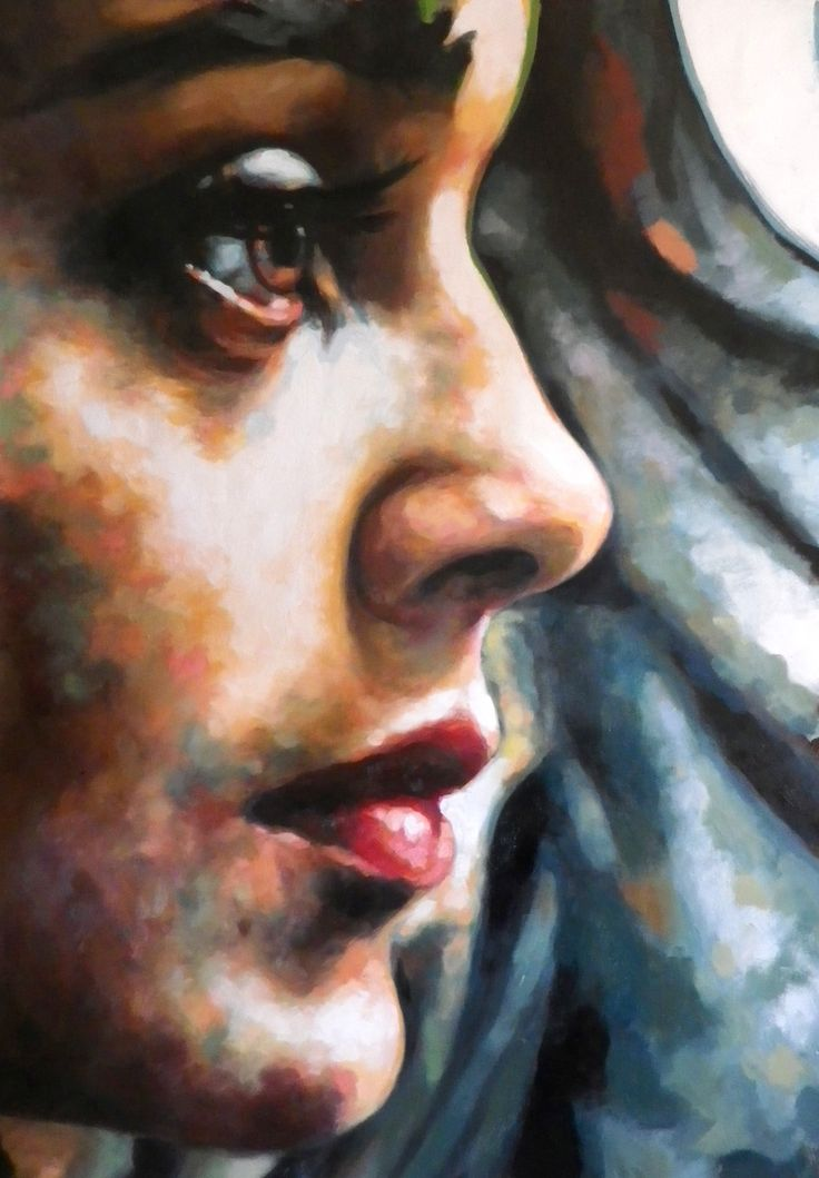 Close Up faces by Thomas Saliot oil on canvas