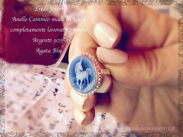 Anello Cammeo Eredi Jovon realizzato interamente a mano. Argento 925 e Agata Blu foto di www.vialedeipensieri11.it