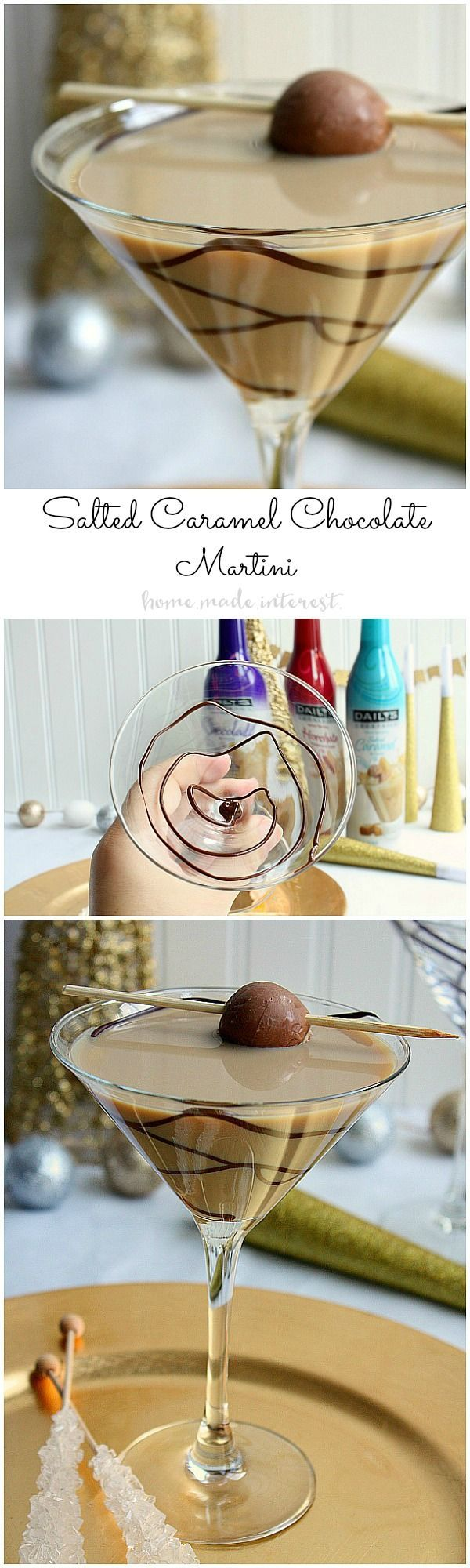 Throw a Bling New Year's Eve party and make this simple martini recipe for a Salted Caramel Chocolate martini as your signature drink! Content for 21+ DailysDessertCocktails AD @dailyscocktails