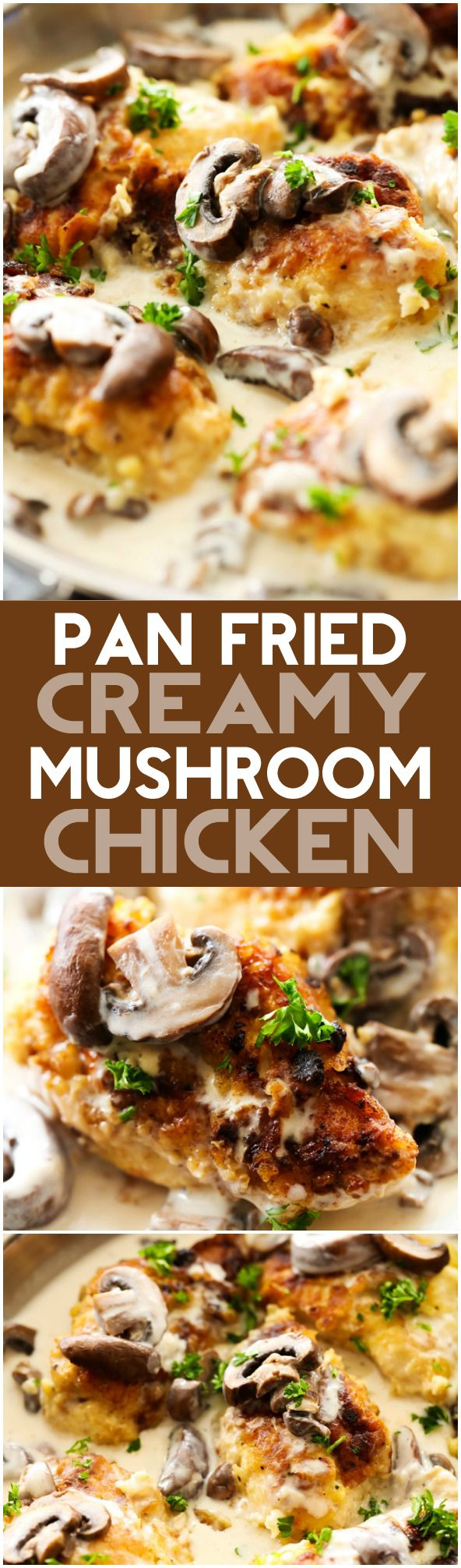 Pan-Fried Creamy Mushroom Chicken... A delicious battered chicken that is first pan-fried then baked and topped with a creamy mushroom gravy. This is a true restaurant quality dinner that will quickly become a new family favorite!