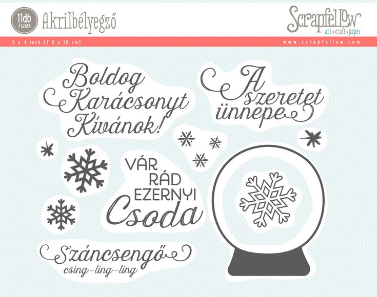 """Készíts SK képeslapot ezekkel a szép karácsonyi feliratos pecsétekkel. A hógömbbe pedig megannyi klassz dolgot tudsz """"elrejteni"""" :)  10*7,5 cm bélyegzőszett A szett 11 db szegélybélyegzőt tartalmaz. Az akrilbélyegző használatához nyomdapress vagy akriltömb szükséges, amire az akrilbélyegző feltapad, és biztosítja a precíz bélyegzést. Tervezte: Bíró Ágnes"""