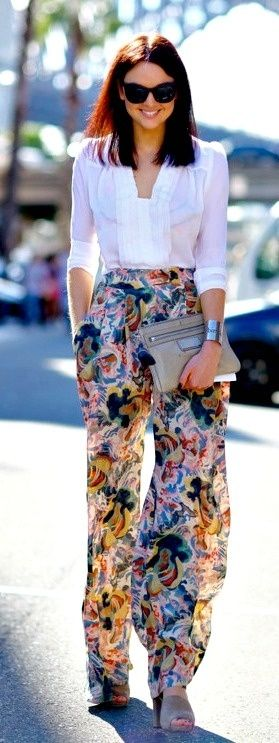 A fun-patterned, wide pant goes a long way when paired with a more structured, fitted top.