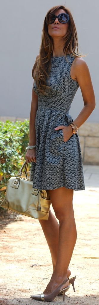 Kuka  Chic Grey Sleeveless Open Back Print Skater Dress by Like A Princess Like.... Kuka