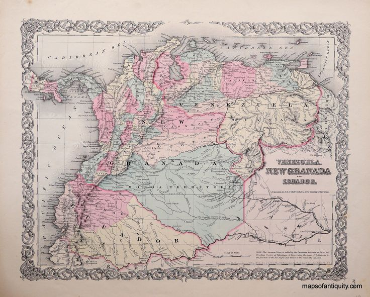 Colton's-Venezuela-United-States-of-Colombia-and-Ecuador. South America Maps of Antiquity Antique Map