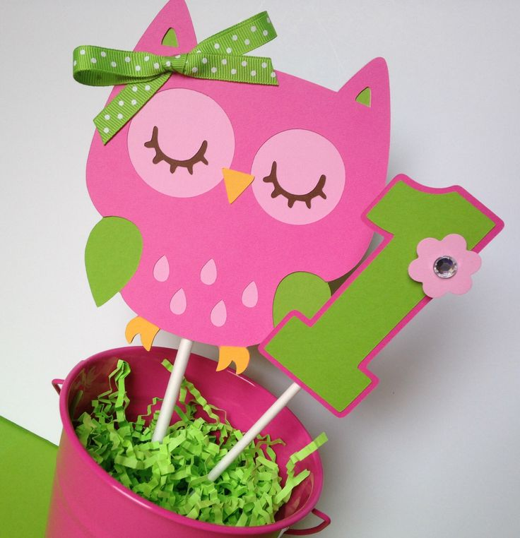 Owl Birthday Party Personalized Smash Cake Topper Pink and Green - Owl Party Decorations - Owl First Birthday - Owl Cake Toppers - Owl Pink by sweetheartpartyshop on Etsy https://www.etsy.com/listing/203532286/owl-birthday-party-personalized-smash