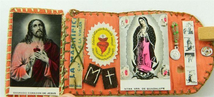 Vintage Catholic Mini Pocket Shrine Our Lady of Guadalupe Sacred Heart St Martin