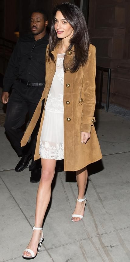 Amal Clooney in a lace Alberta Ferretti LWD and a camel coat.