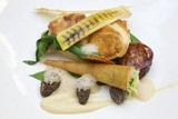 Am quite partial to a spot of roasted chicken, morels, grilled leeks, Morel veloutè by Matt Weedon, Head Chef at Fallowfields from March 2013 http://www.fallowfields.com/restaurant/our-fine-dining-menus/a-la-carte/