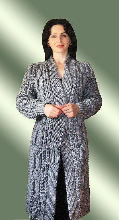 Пальто с каймой (можно с воротником и пуговицами) - вязаное пальто,пальто