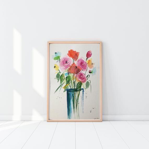 Original watercolor painting Flowers bouquet picture Art Watercolor flowers