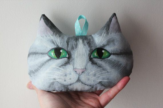 Hand Painted Tabby Cat Soft Sculpture Wall by Lovely Something €25.00, hand made in Ireland by me.