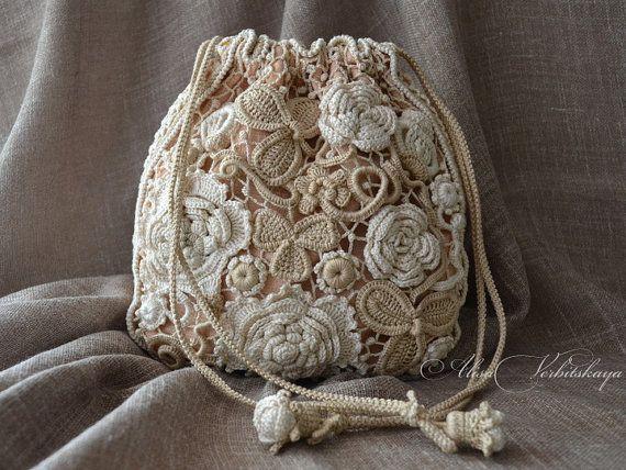 Сумка, кисет, мешок, косметичка, ирландское вязание, кружево, кошелек, бохо, ретро, фото печать,