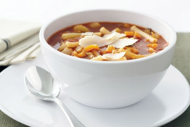 Vegetable And Tomato Pasta Soup - Super-healthy vegetables bathe in a bowl of tangy tomato soup in this easy winter warmer.
