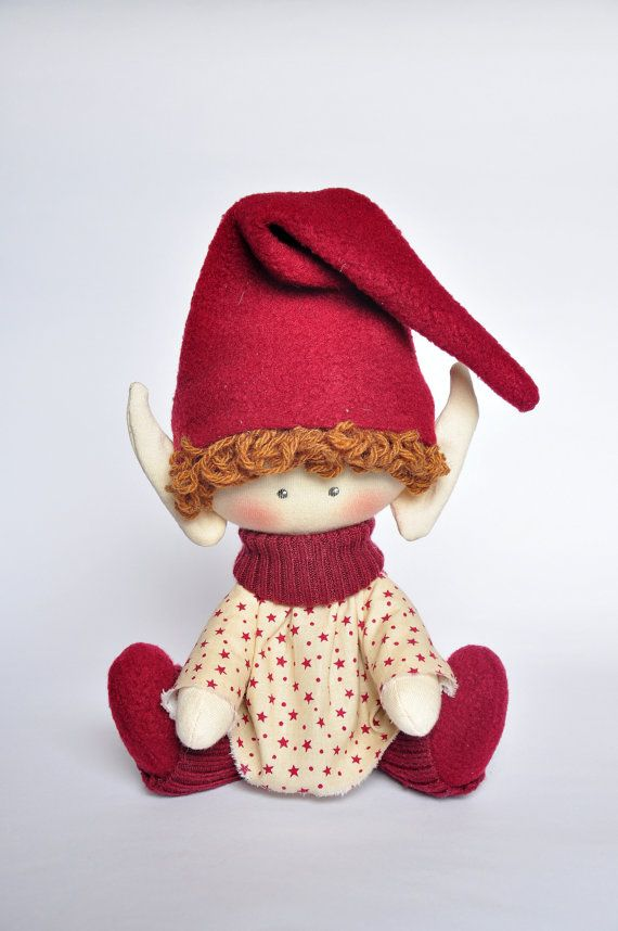 Christmas elf, Christmas Ideas Christmas Gift, textile doll  This vivid doll would be a great gift for Christmas and New Year.  This doll is made of cotton and fleece. Height is 25cm. or 11.5 inches.  Please contact me if you have any questions about anything you would like to know. Thank you for visiting my shop