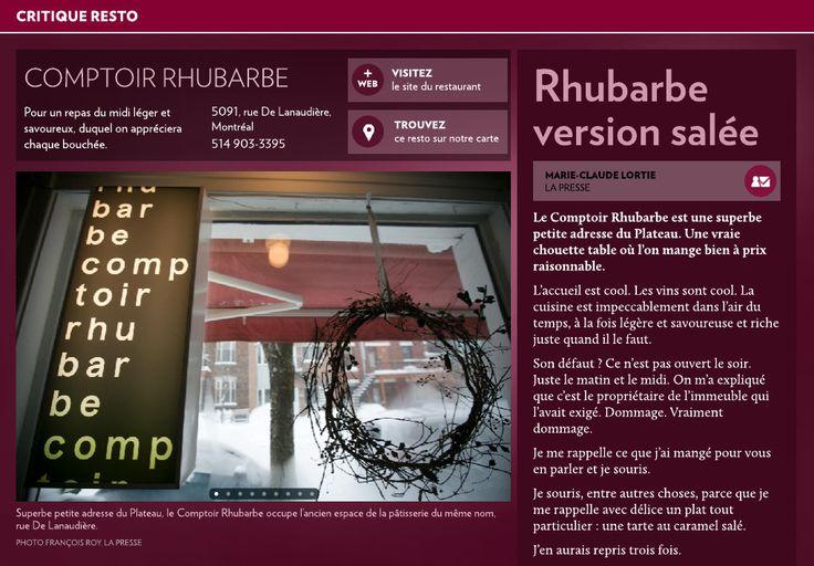 Rhubarbe version salée - La Presse+