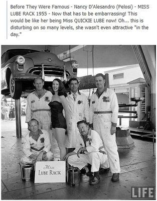 Netlore Archive: Viral image purports to show a young Nancy Pelosi (née Nancy D'Alesandro) posing in a bathing suit in an auto repair shop as 'Miss Lube Rack 1955.'