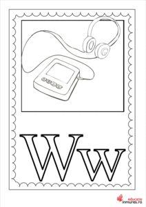 Litera W - Planșă de colorat