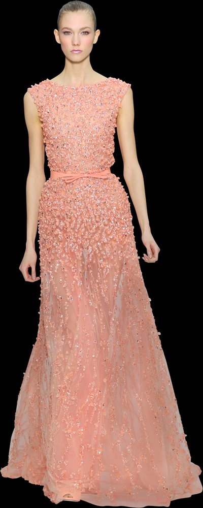 Elie Saab Spring Summer 2012: loving coral!  Gorgeous!  Wonder what kind of looks I'd get if I wear this to the next PTA meeting???