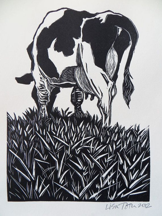 Woodblock print Grazing by LisaToth on Etsy, $35.00