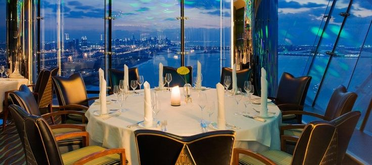Arabic for 'The Ultimate' or 'The Top', Al Muntaha is a restaurant that lives up to its name. See Dubai stretched out in all its glory from the 27th floor, where the stunning views are matched only by the sumptuous menu. http://www.destinationdubai.tv/restaurent-al-muntaha-burj-al-arab-322.htm
