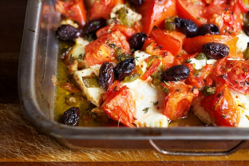 Baked Ricotta Slices with Capsicum, Tomato and Olives - Karen Martini Recipe