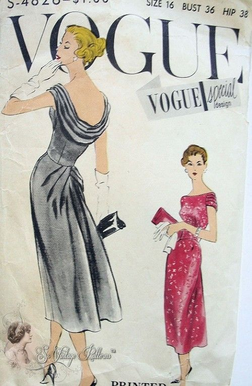 1950s dazzling evening cocktail party dress pattern for Cowl neck wedding dress pattern