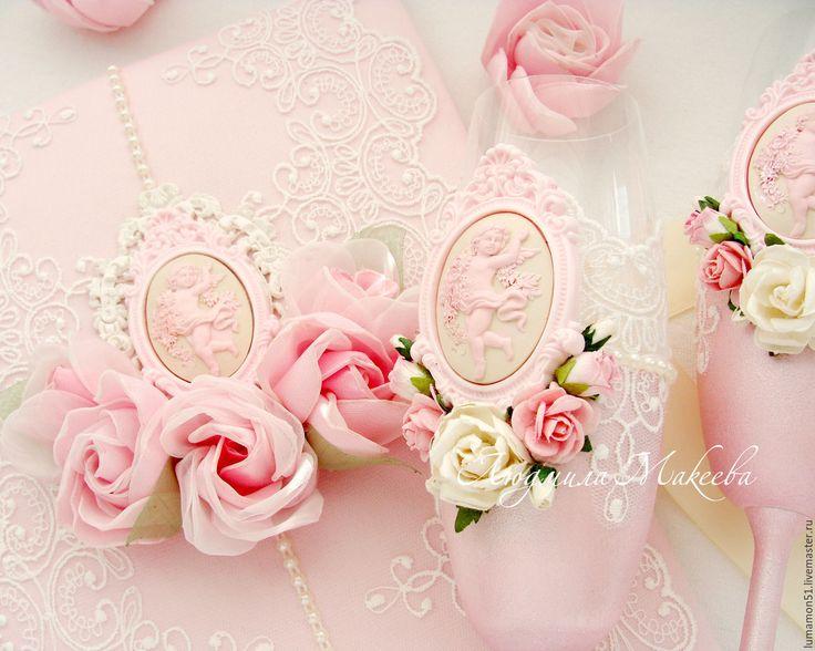 """Купить Свадебные аксессуары """" Розовая безмятежность"""" - свадьба, свадьба 2017, свадьба в розовом"""