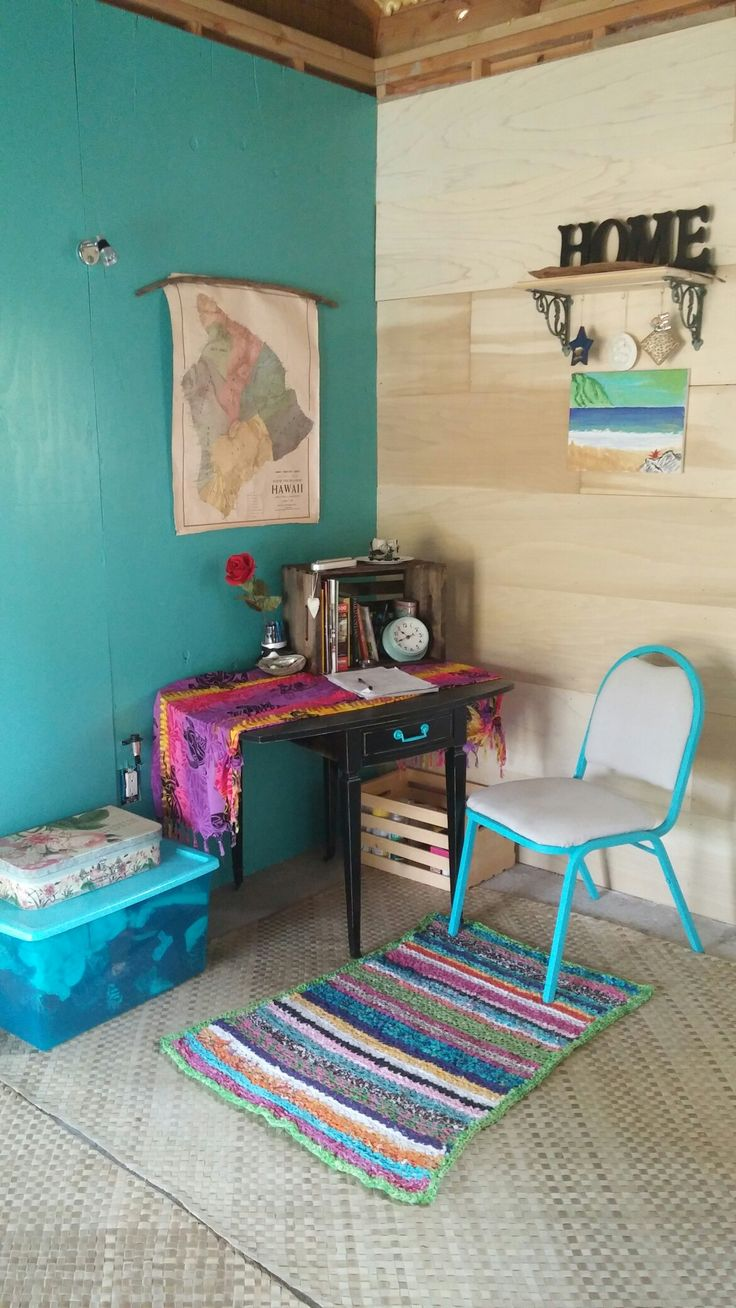 Turquoise accent wall, vintage Hawaii map and a crocheted rag rug to tie it all together.
