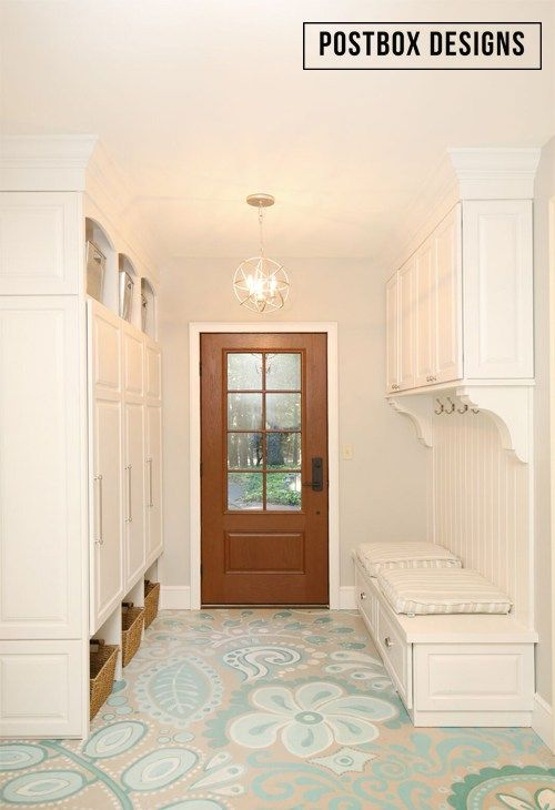 Postbox Designs Mudroom Makeover, painted concrete floors, budget floor ideas, command center, cottage style mudroom, fixer upper style ideas, ballard designs, lockers, entryway ideas, E-Design, painted floor, wood exterior door