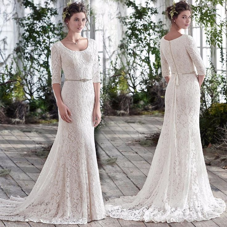 2016 Fall Winter 3/4 Long Sleeve Sheath Wedding Dresses Scoop Neck Full Lace Country Style Chic Rustic Bridal Gown Vestido De Noiva Lace Fitted Wedding Dresses Lace Sleeved Wedding Dresses From Ourfreedom, $143.82| Dhgate.Com
