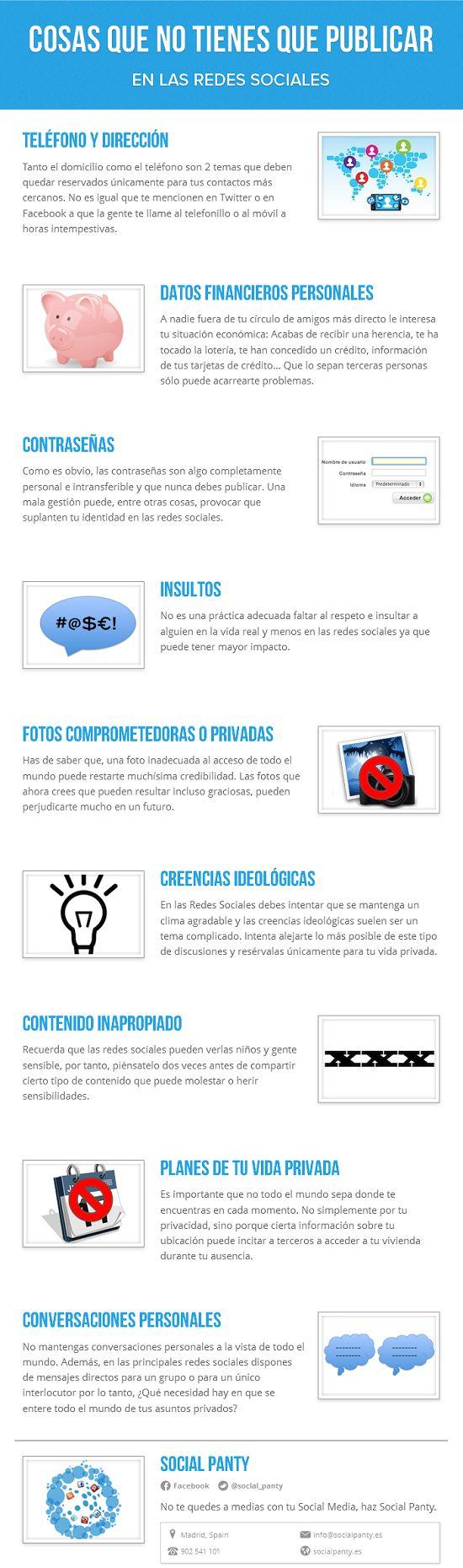 9 datos que nunca debes publicar en tus redes sociales #Infografía Escrito por Lilihana el 08/07/2014. Posteado en Redes Sociales Compa...