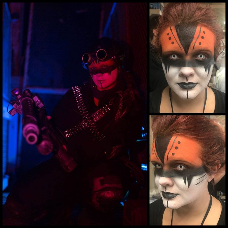 The Industrial guard in the Hayride at The Bates Motel and Haunted Hayride in Glen Mills, PA. She's 20' off the trail, so a bold, tribal look was the way to go. Makeup, and photography done by me.