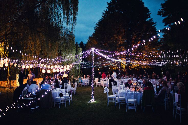 Montrose Berry Farm, Southern Highlands NSW - Wedding dinner reception under fairy lights amongst the trees