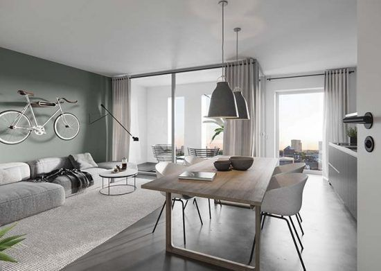 Grün und neutral: Ein Raum mit sanften Farben, de…