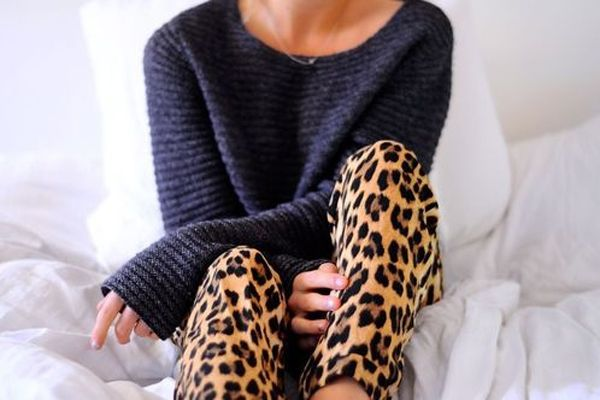 oversized sweater + leopard pants
