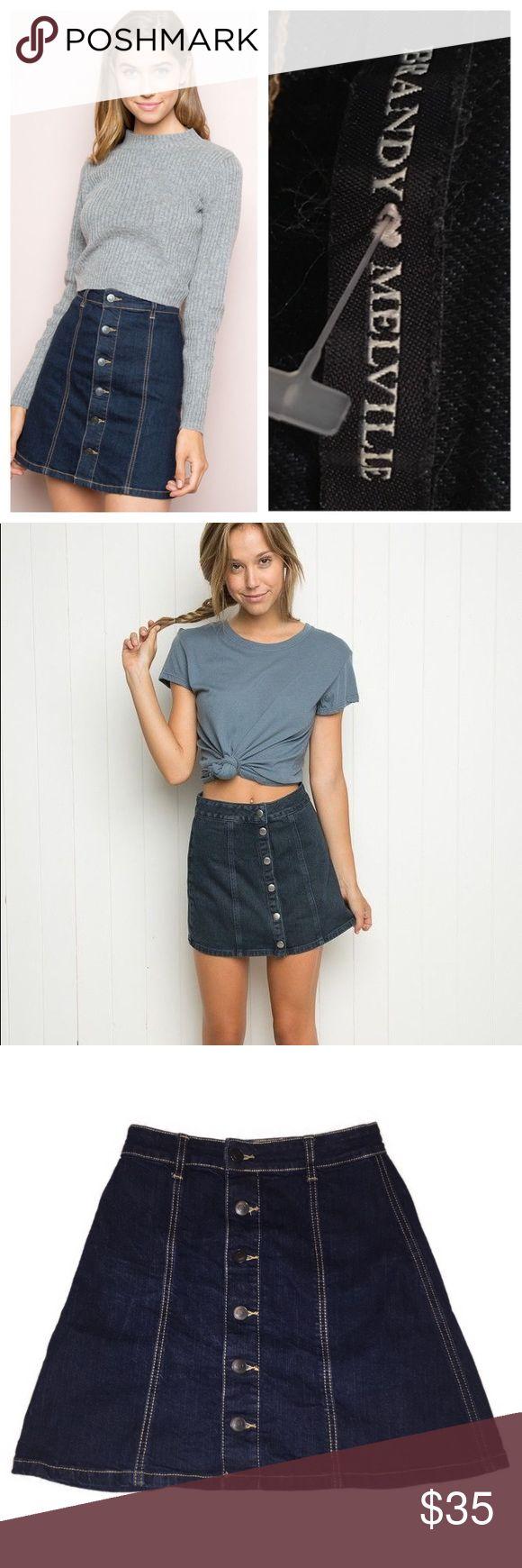 """Brandy Melville denim skirt Trendy button front mini skirt by brandy Melville. Waist 12"""", length 16"""" Brandy Melville Skirts Mini"""