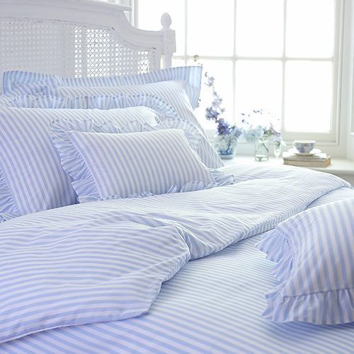 I love fresh, blue and white striped sheets on my bed..................