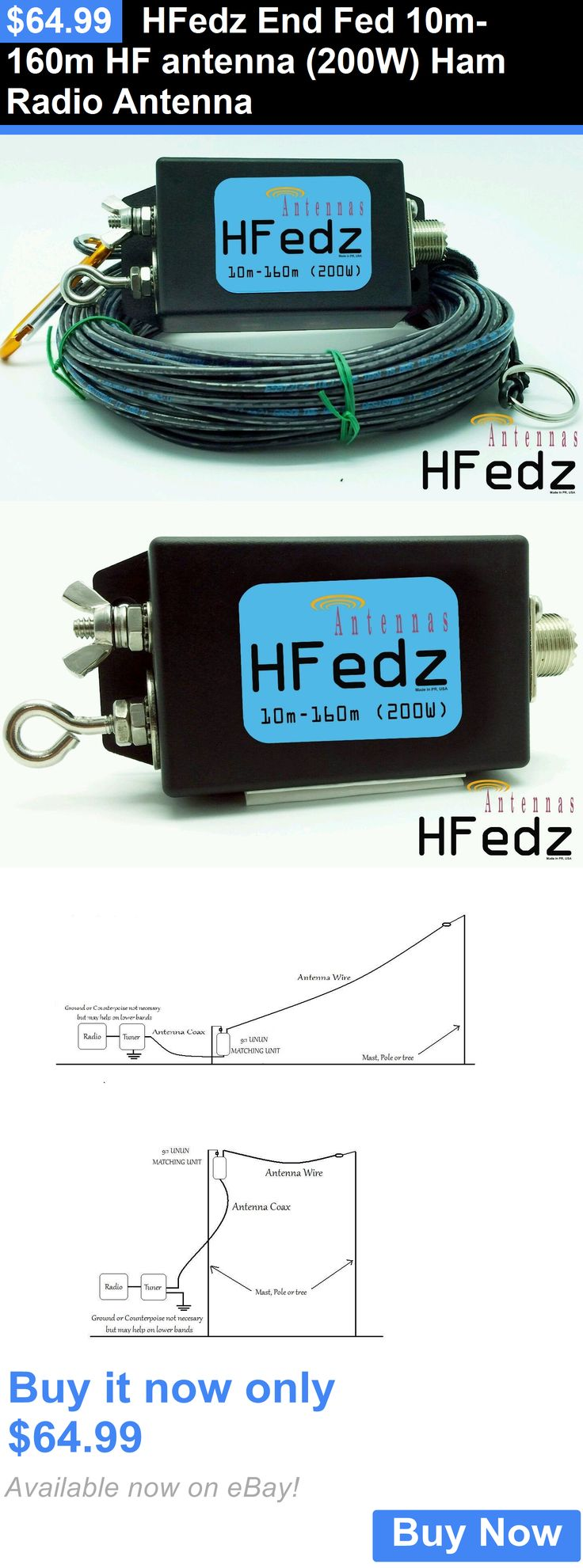 Ham Amateur Radio Antennas: Hfedz End Fed 10M-160M Hf Antenna (200W) Ham Radio Antenna BUY IT NOW ONLY: $64.99