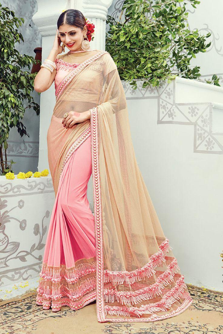 #WeddingSaree Beautiful Half-Half Lycra Net Fabric Wedding Saree in Pink-Beige Color Buy Now :- https://goo.gl/zTYbRb