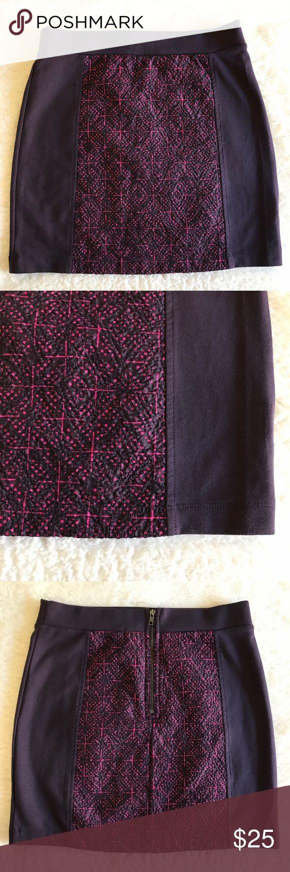 American Eagle Outfitters Body Con Mini Skirt Perfect Condition America Eagle Body Con Mini Skirt in Deep Purple With a pink & purple Macrame inlay. American Eagle Outfitters Skirts Mini
