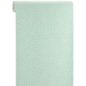 Polka is een schattig vliesbehang witte polkadots op een mintgroene achtergrond. Kleur: mint/wit. #polkadot #stip #kwantumbelgie #behang #grafisch
