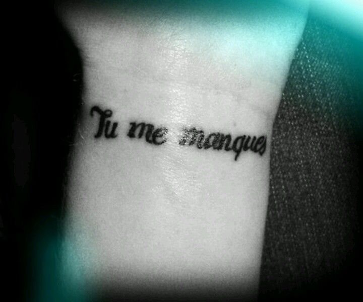 """Left side ribs...near heart*Tu Me Manques Phonetically this would be something like """"Too Muh Mahnk"""" This is the French way of saying """"I miss you."""" {Literally it would translate as being something akin to """"You are missing from me.""""} I have been told that the French-speaking people of this world do not use this expression as casually as do the English-speaking people of this world. I am not surprised. If you feel that a part of you is physically missing –that someone used to fill that space…"""