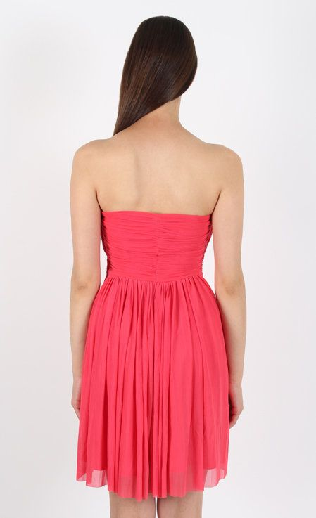 Mesh Strapless Occasion Dress Coral