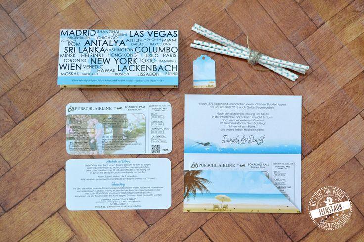 Hochzeitseinladung als Flugticket, Hochzeitsthema Reisen in einer Pocketeinladung mit zwei Infokarten, Hochzeitseinladung - Feenstaub.at