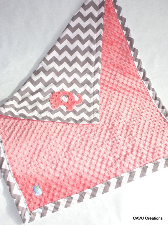 Gray Chevron & Coral Minky Baby Blanket with by CAVUcreations