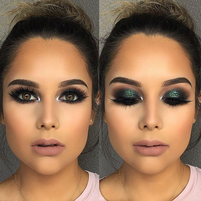 Love this green smokey eye glam on this gorgeous face  @anastasiabeverlyhills Brow Wiz in Dark Brown, Noir eyeshadow @colourpopcosmetics Shameless Super Shock Shadow @urbandecaycosmetics Distortion Heavy Metal Glitter liner  @ciatelondon @chloemorello Beauty Haul palette  @hudabeauty @shophudabeauty Scarlett lashes  @narsissist Sheer Glow foundation in Strombolli @toofaced Cool Girl & Child Star Melted Matte lipstick  @beccacosmetics @jaclynhill Champagne Pop Shimmering Skin Perfector…