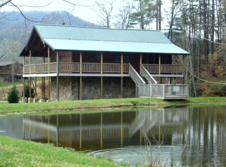 Fishing hole fish right off your deck in the private for Smoky mountain cabins with fishing ponds