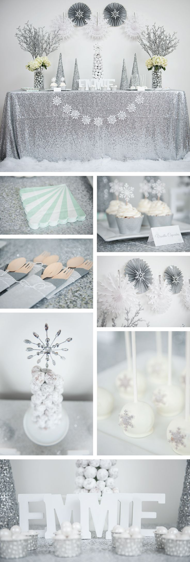 Winter wonderland party and decorations. Silver glitter and teal party. Rent the Kit or buy sweet party supplies at undercoverhostess.com