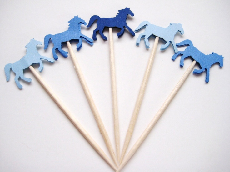 24 Mixed Blue Horse Party Picks - Cupcake Toppers - Toothpicks - Food Picks - die cut punch FP333. $3.99, via Etsy.